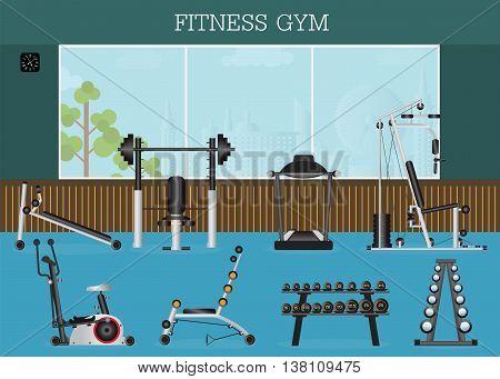 Gym interior with gym equipment gymnasium sport fitness athletics healthy lifestyleflat design Vector illustration.