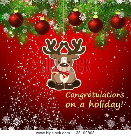 Vector New Year design background. Template card whit red Christmas balls on the green branches . Silhouette of a Christmas tree made of stars. Falling snow. Toy decorative deer.