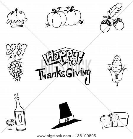 Happy Thanksgiving element party in doodle vector art