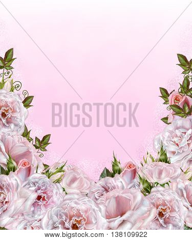 Bouquet of flowers. Rosa pastel pink old style. Flower composition.