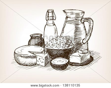 Milk products sketch style vector illustration. Old hand drawn engraving imitation.
