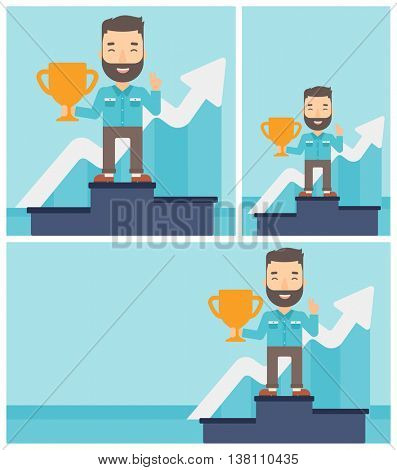 Hipster businessman standing on a pedestal with winner cup. Businessman celebrating his business award. Business award concept. Vector flat design illustration. Square, horizontal, vertical layouts.