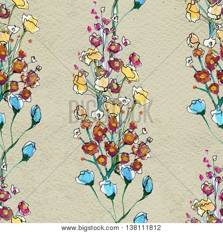 Floral seamless watercolor pattern. Hand drawn background with flowers.