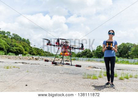 Flying drone with camera on the sky