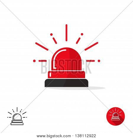 Emergency icon isolated on white background, ambulance siren light, police car flasher, red alert logo vector illustration