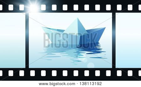 Photo film with origami boat. Vector illustration of paper ship on water