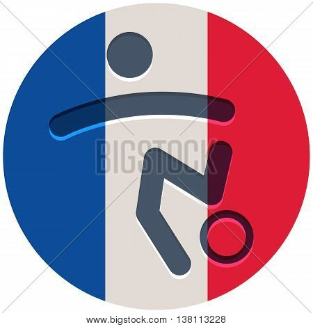 Football icon on the French flag background