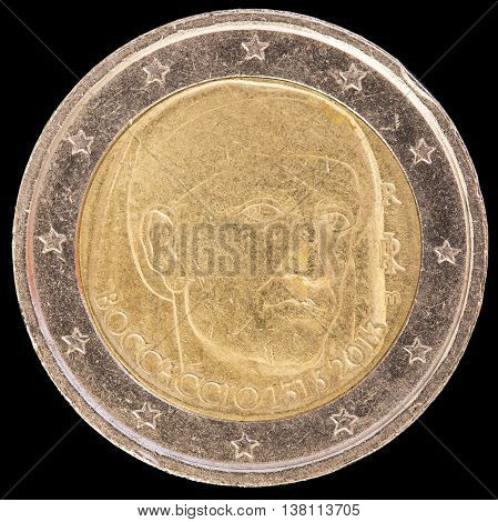 Commemorative Two Euro Coin Issued By Italy In 2013 And Commemorating The Italian Poet Boccaccio