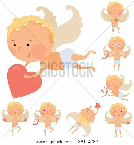 Cupid angels icons set - little boy with a bow and arrows