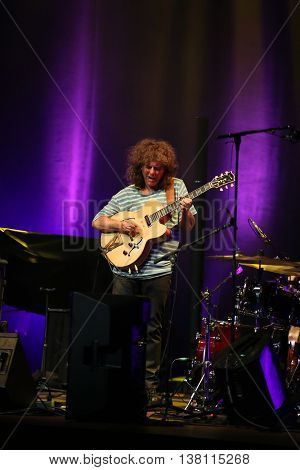 CRACOW POLAND - JUNE 26 2016: Pat Metheny playing on guitar at Summer Jazz Festival in Cracow Poland.