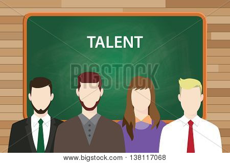 talent text concept with green board as background and people aligning on front of it vector graphic illustration