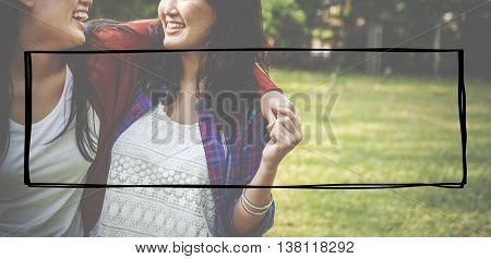 Friendship People Together Frame Graphic Concept