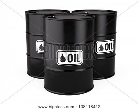 3d illustration of Classic Black Metal Oil Barrels Drum isolated on white background