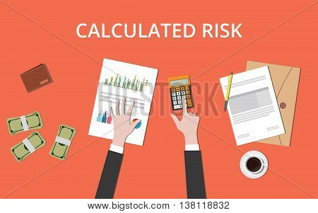 calculated risk concept with businessman hand on table with graph chart money and paper document vector graphic illustration