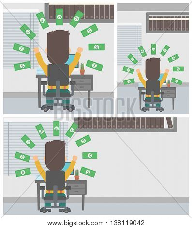 Happy businessman with raised hands celebrating while sitting at workplace under money rain. Successful business concept. Vector flat design illustration. Square, horizontal, vertical layouts.