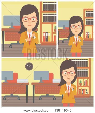 An angry business woman standing in the office and pointing at her wrist watch. Vector flat design illustration. Square, horizontal, vertical layouts.