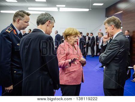 German Chancellor Angela Merkel At Nato Summit In Poland