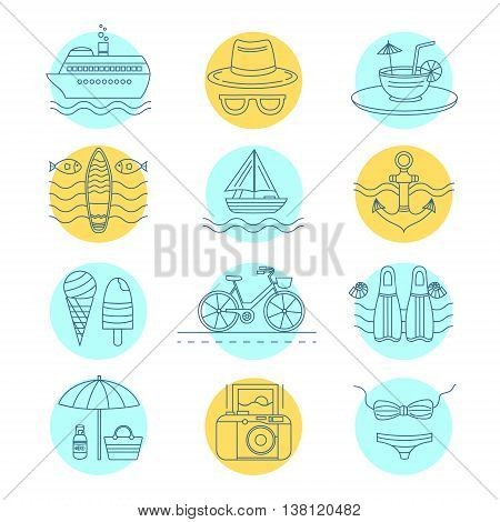 Set of vector line icons on the summer theme. Collection of line icons for summer travel. Different elements of a summer vacation - a cruise liner, beach, surfboard, boat, swimsuit, cocktail and other