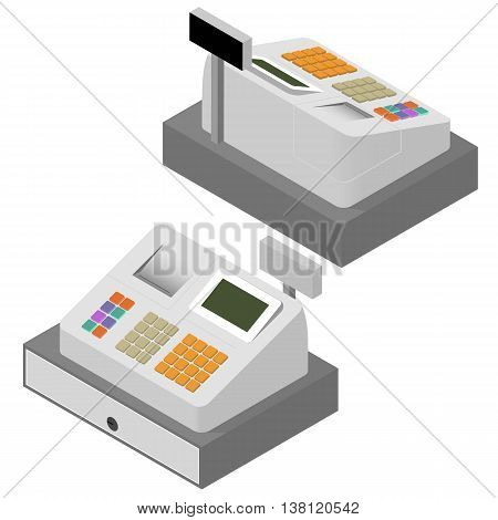 Cash register set. Flat isometric. Cash register machine. Printing of cash receipt. Registration purchase. The circulation of money. Cash revenue. Vector illustration.