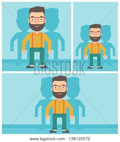 Hipster man standing with some shadows behind him. Candidat for a position stand out from crowd. Concept of staff recruitment. Vector flat design illustration. Square, horizontal, vertical layouts.