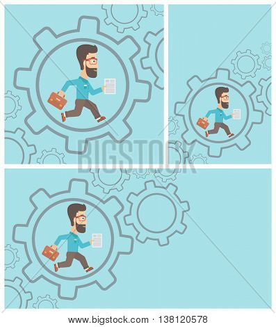 A hipster businessman with the beard running with a briefcase and a document inside the gear. Concept of stress in business. Vector flat design illustration. Square, horizontal, vertical layouts.