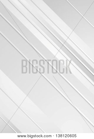 Grey minimal tech abstract flyer background. Vector striped geometric design