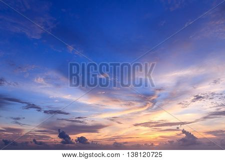 Beautiful background sky , cloud and Sunset