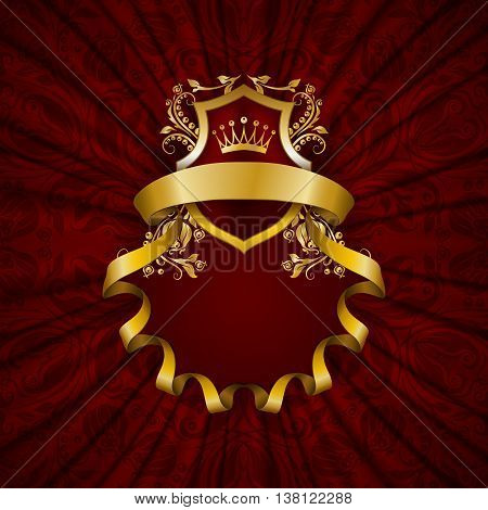 Elegant golden frame with floral elements, filigree ornament, gold crown, shield, ribbons, place for text on red drapery fabric. Luxury ornate background in vintage style. Vector illustration EPS 10
