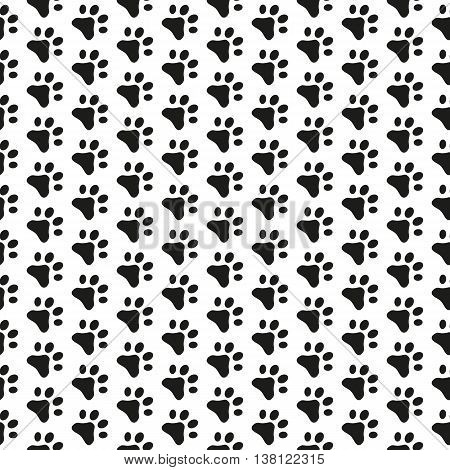 Fully vector seamless pattern with cats footprints black