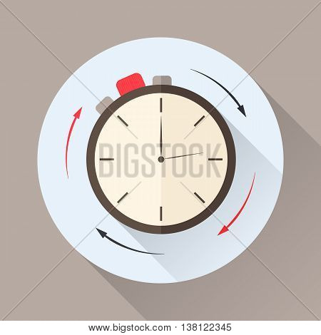 Stopwatch in flat style with shadow. Countdown. The clockwise motion. Icon for business or time-management. Vector illustration.