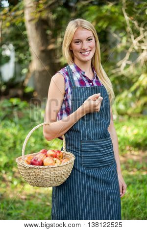 Portrait of happy young female gardener holding fresh apples basket at garden