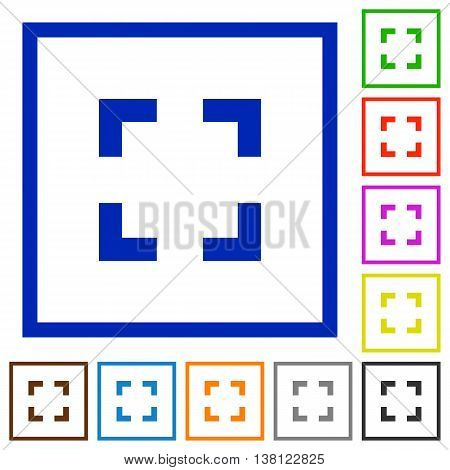 Set of color square framed Selector tool flat icons