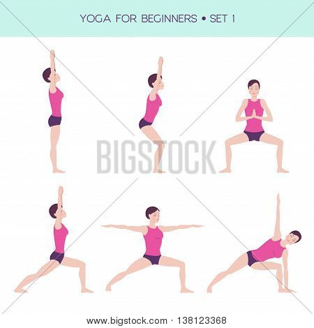 Vector set of basic yoga asanas, yoga for beginners, woman figure doing exercises, 6 asanas