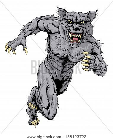 A werewolf wolf man character or sports mascot charging sprinting or running