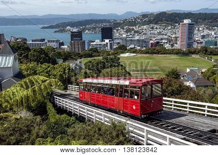 The Wellington Cable Car is a funicular railway in Wellington New Zealand between Lambton Quay the main shopping street and Kelburn a suburb in the hills overlooking the central city rising 120 m (394 ft) over a length of 612 m (2008 ft). It is widely rec