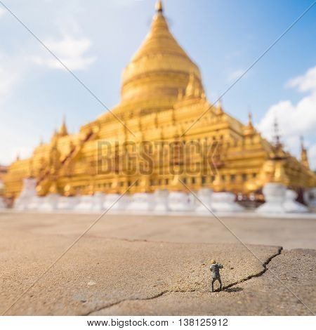 a Photographer in Shwezigon Pagoda at Myanmar