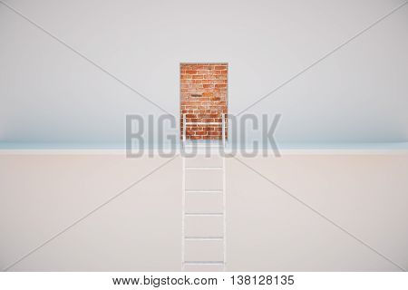 Escape ladder to prison exit. Freedom concept. 3D Rendering poster