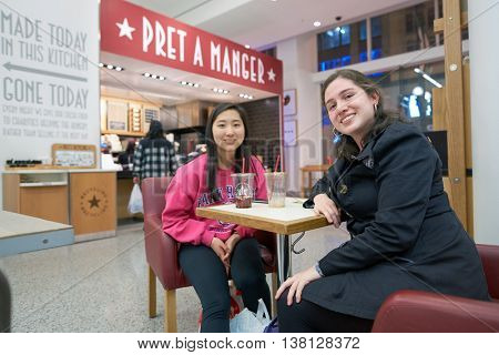CHICAGO, IL - CIRCA MARCH, 2016: women at Pret a Manger. Pret a Manger is a sandwich shop chain based in the United Kingdom