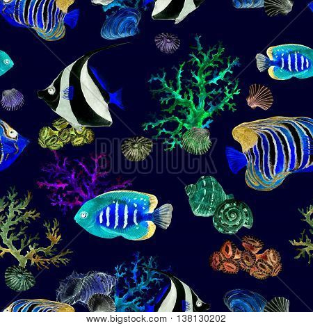 Exotic fishes, sea corals and water baubles. Neon glowing sea pattern. Repeating watercolor