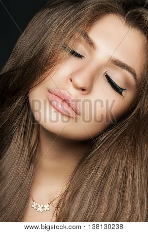 Close Portrait Of A Beautiful Woman (face) With Perfect Long Brunet Hair. Brown Hair. Fashion Portra