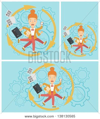 Young business woman with many legs and hands holding papers, briefcase, smartphone. Multitasking and productivity concept. Vector flat design illustration. Square, horizontal, vertical layouts.