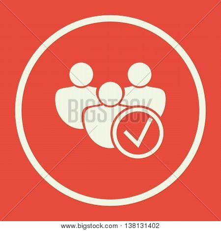User Accept Icon In Vector Format. Premium Quality User Accept Symbol. Web Graphic User Accept Sign On Red Background. poster