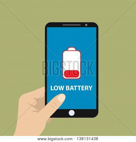 Hand holding smartphone with low battery vector illustration.