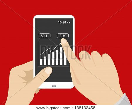 One hand holding smart phone and other button presses to buy on screen flat design