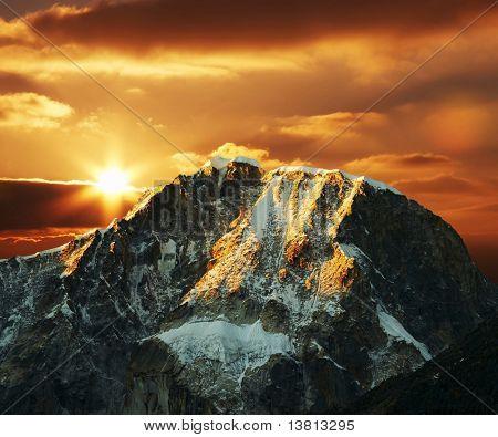 Beautiful sunset in Cordilleras mountain
