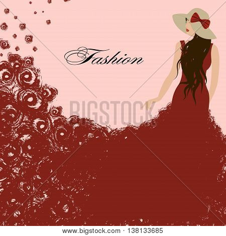 woman in a red dress. Red roses. Beautiful graceful triumph