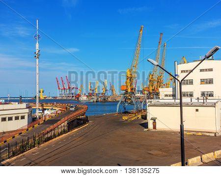 Odessa, Ukraine - July 6, 2016: Container Cranes In Cargo Port Terminal, Cargo Cranes Without Job In