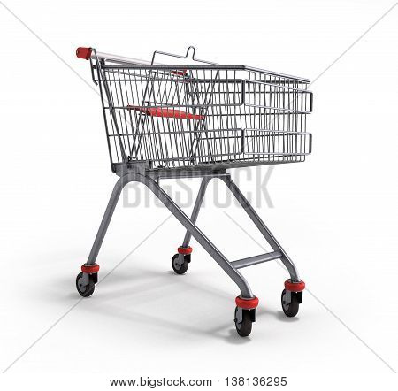 Empty Trolley From The Supermarket 3D Illustration On White Background