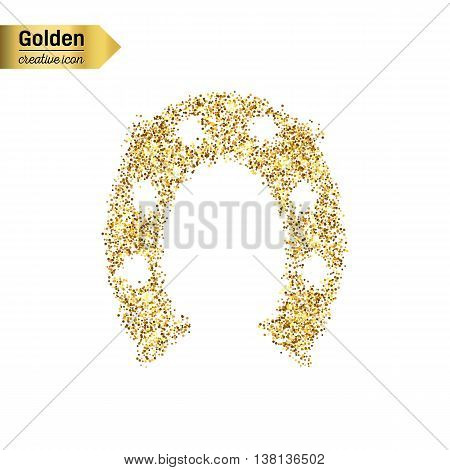 Gold glitter vector icon of hoof isolated on background. Art creative concept illustration for web, glow light confetti, bright sequins, sparkle tinsel, abstract bling, shimmer dust, foil.