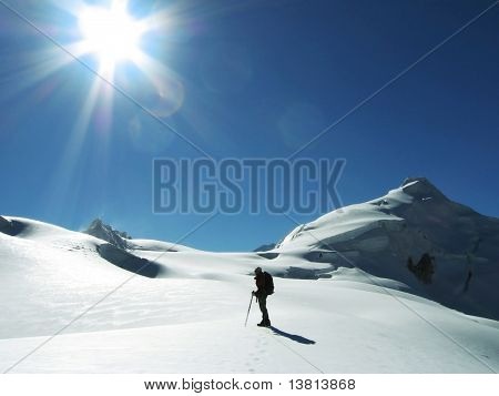 climbers going up in snowy slope poster